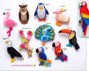 Imanes de fieltro de aves - precio por 1 artículo - hacer tu propio juego - Flamingo, águila, loro, lechuza, pelícano, Tucán, pavo real
