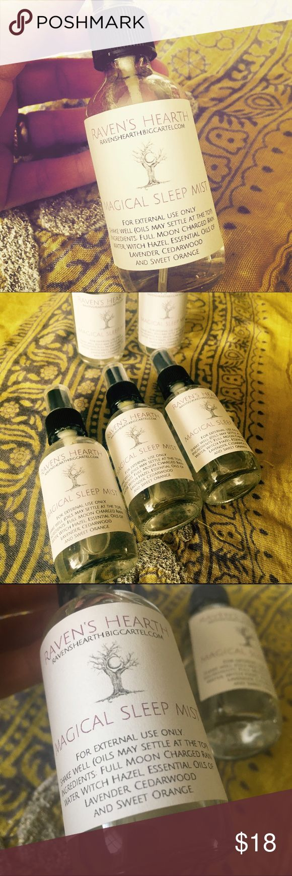 🔮Magical Sleep Mist🔮 Aromatherapy Now I lay me down to rest  I pray that all the world be blessed. Infused with essential oils of lavender, cedarwood and sweet orange, this Full Moon charged rainwater spray will help with relaxation as well as stimulating melatonin release and suppression of anxiety.  For external use only. Do not swallow.  Ingredients: Full Moon Charged Rainwater, Witch Hazel, Essential Oils of Lavender, Cedarwood and Sweet Orange.  * Shake well. Oils may settle at the…