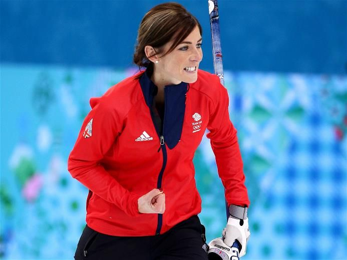 Eve Muirhead of Great Britain celebrates as Team GB win the bronze medal with the final stone, during the Bronze Medal Match between Switzerland and Great Britain. Sochi 2014 Day 14 - Curling Women's Bronze Medal Game.