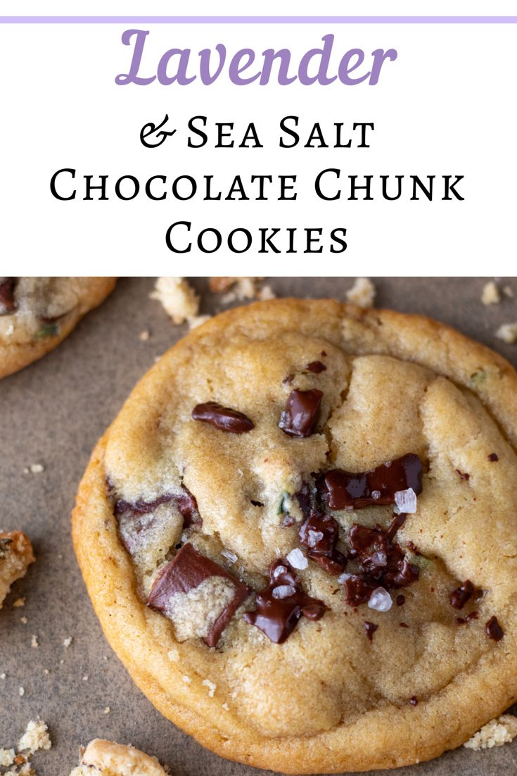 Perfectly crispy on the outside, yet soft & chewy on the inside, homemade lavender & sea salt chocolate chunk cookies ar…