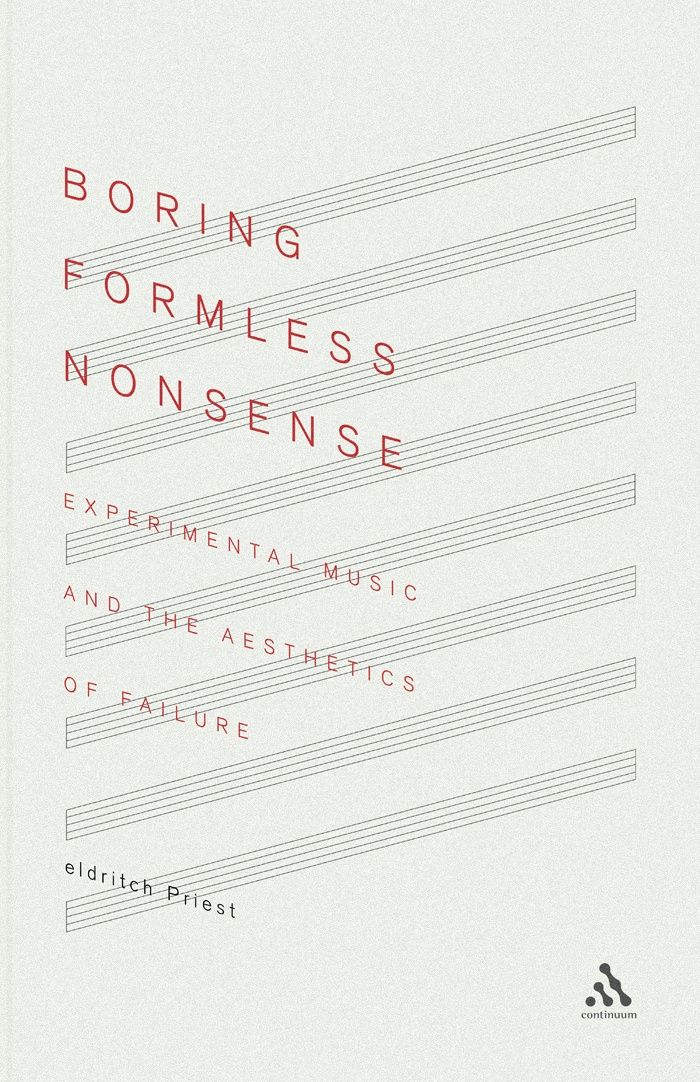 "#poster (unknown designer; perhaps by Eldritch Priest); The poster is balanced with the words slanting towards bottom right and the lines in the opposite direction. It is very minimalistic with lots of negative space and fine strokes of the letters. The movement of the words don't seem ""boring"" at all, contrasting to the words. ""boring formless nonsense."" The muted colors create a calm and serene feel."