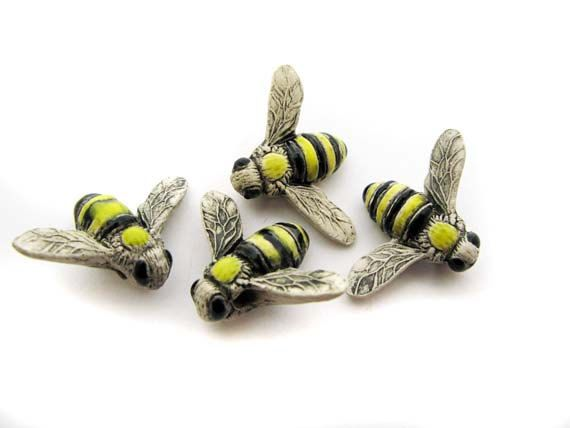 10 Large Bumblebee Beads