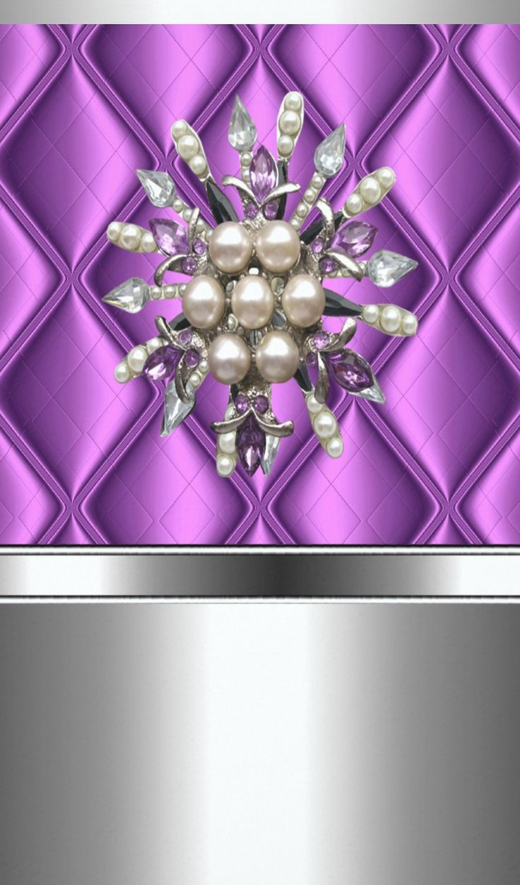 Pearls on Lavender & Silver Wallpaper...By Artist Unknown...