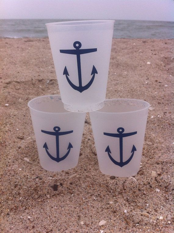 summer nautical anchor plastic cup set of 50 on etsy   65 00