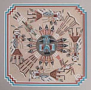 A sand painting by Alvina Begay (Navajo); the sand paintings for public display are a little different than the sacred art used in healing ceremonies.