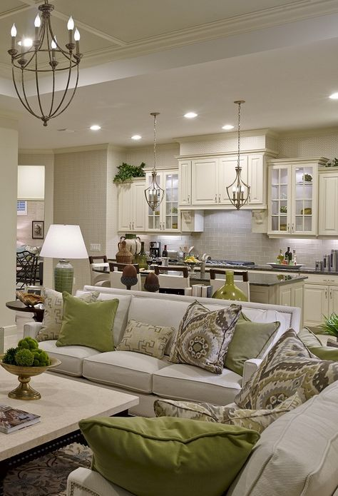Coastal Living 2015 Showhouse: Living / Dining / Kitchen Before & After - Peppermint Bliss