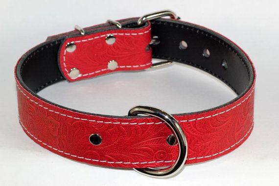 Floral Leather Red Dog Collar 1.5 Red Floral от radnbadcollars