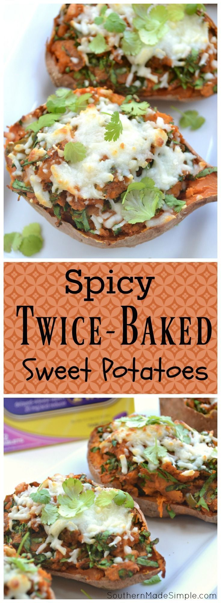 If you're looking for a way to spice up your Thanksgiving day menu, these spinach stuffed Spicy Twice-Baked sweet potatoes topped with gooey mozzarella cheese are a great way to do it! Forget everything you thought you knew about sweet potatoes, these bad