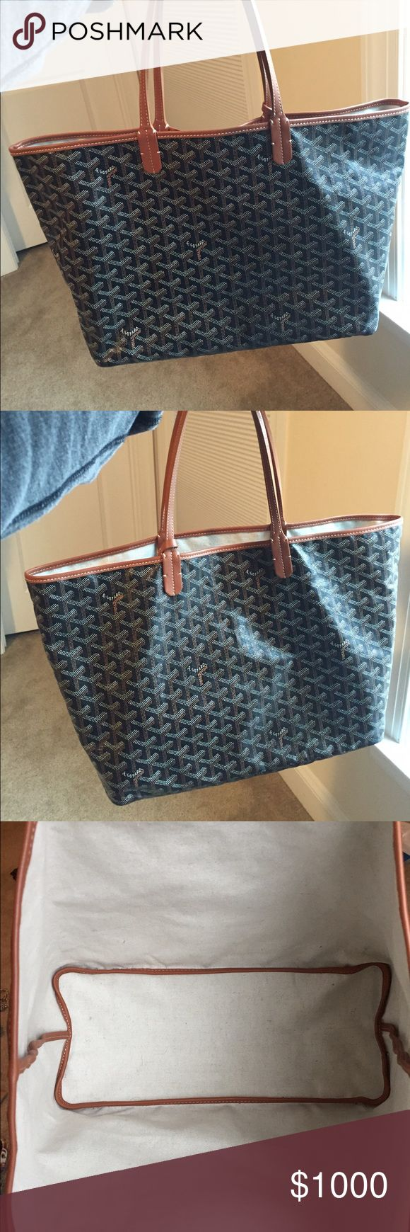 """GOYARD St Louis Tote PM 11""""W x 19""""H x 6""""D. Only sign of wear is slight cracking on strap. No stains, scratches or anything. Original dustbag and cards included. Price is very, very firm. Goyard Bags Totes"""