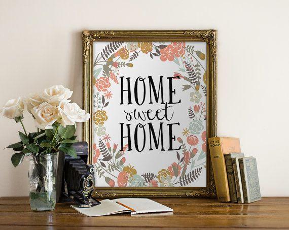 PRINTABLE Art Home Sweet Home Typography Art by WishfulPrinting
