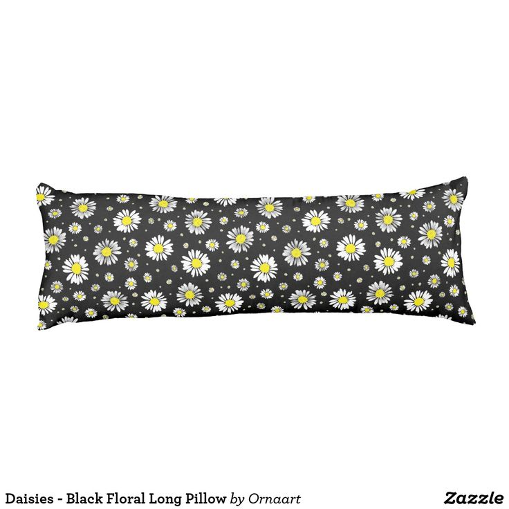 Daisies - Black Floral Long Pillow