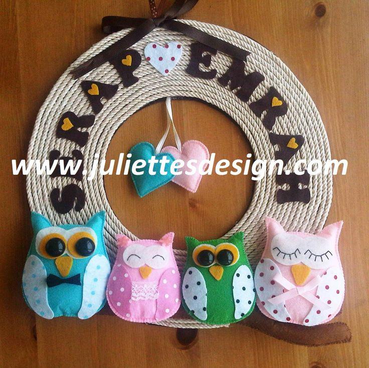 Keçe kapı süsü Felt wreath, felt owl  www.juliettesdesign.com