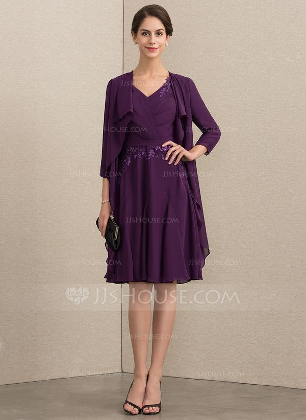 ddaa76bd190b A-Line V-neck Knee-Length Chiffon Lace Mother of the Bride Dress With  Sequins