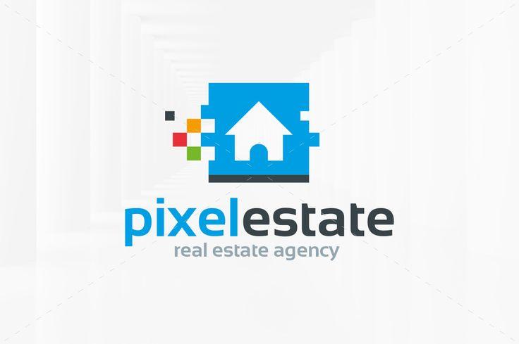 Pixel Estate Logo Template by LiveAtTheBBQ on @creativemarket