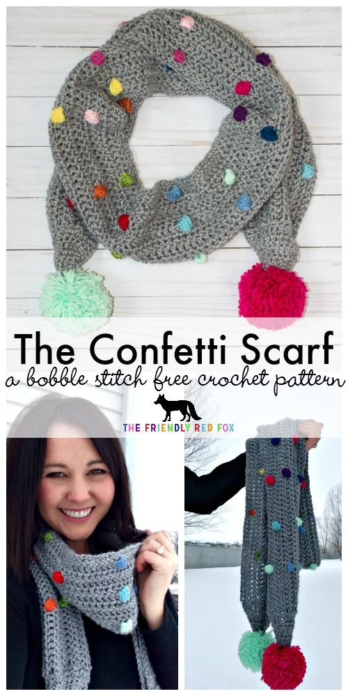 Free Crochet Pattern Confetti Scarf with Bobble Stitch. Cute and funky with fun pops of color!