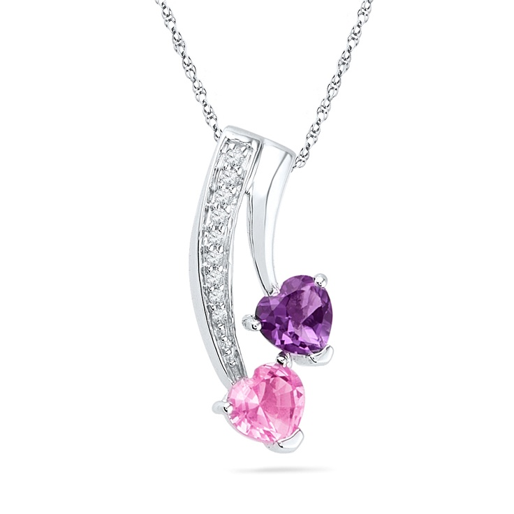 JPEARLS PURPLE HEARTS DIAMOND PENDANT : WHO KNEW I WOULD GET THE MOST AWESOME MOM OF ALL? LUCKY ME! HAPPY MOTHER'S DAY, MOM!  PRODUCT FEATURES:  GOLD WEIGHT :1.86 (APX)  GOLD PURITY : 18 KT DIAMONDS WEIGHT : 0.38 (APX)  DIAMOND COLOR : GH DIAMOND CLARITY : I DIAMOND SHAPE: SINGLE-CUT ROUND NUMBER OF DIAMONDS :7  COLOR STONE TYPE: PINK,SAPPHIRE/AMETHYST NUMBER OF  COLOR STONE WEIGHT: 0.730 COLOR STONE SHAPE: HEART FREE : SEMIPRECIOUS NECKLACE BRAND : SRI JAGDAMBA PEARLS  PRICE: $202.94