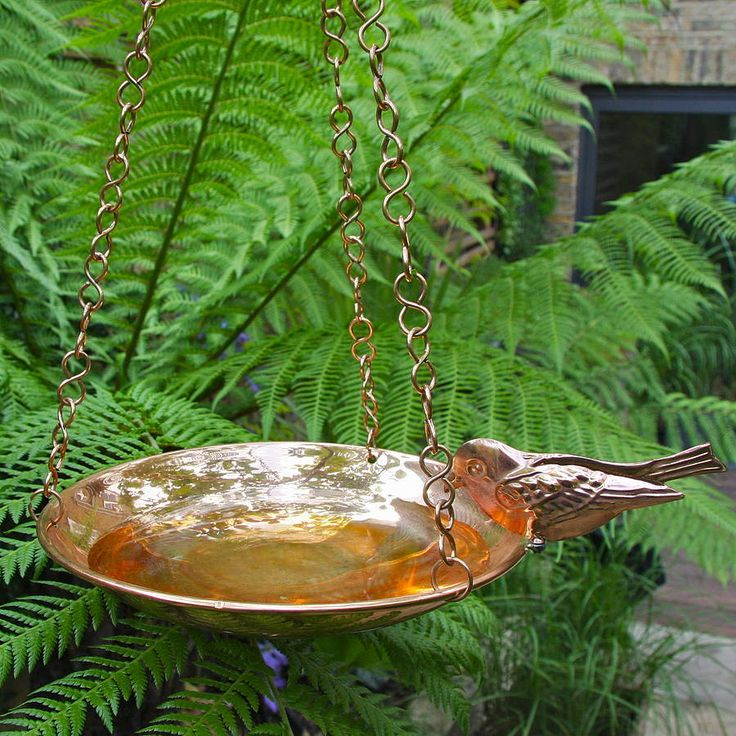 Copper Birdbath With Bird