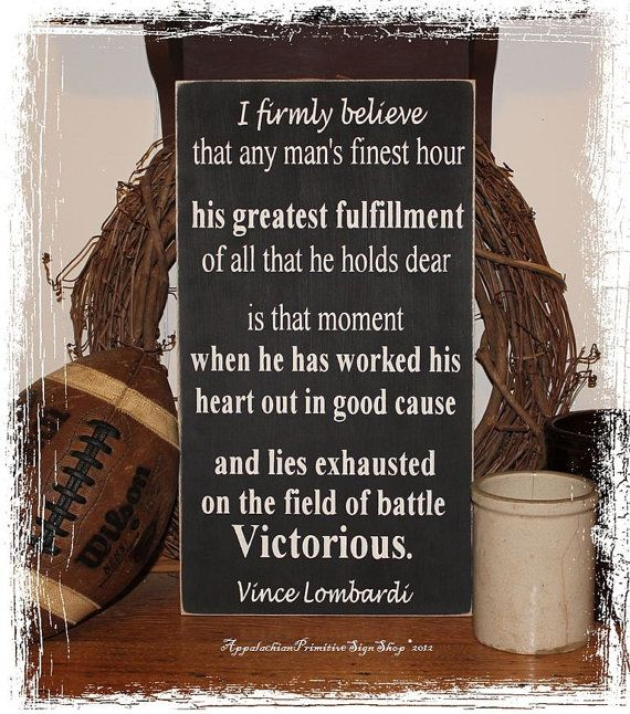Vince Lombardi Victorious Quote -Wood Sign- Home Office Decor Football Fan Coach Armed Forces on Etsy, $34.00