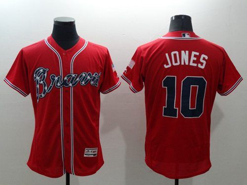 sports shoes bdb60 5122f Braves #10 Chipper Jones Red Flexbase Authentic Collection ...