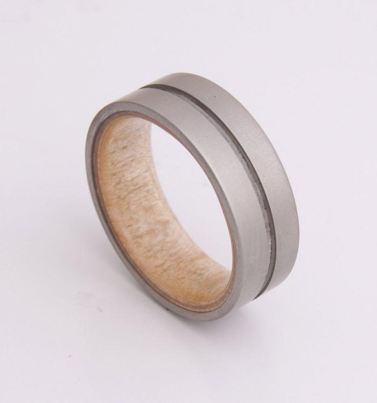 Titanium and Maple Birdeye // Mens Wood Rings //wood Wedding Band //Men's…