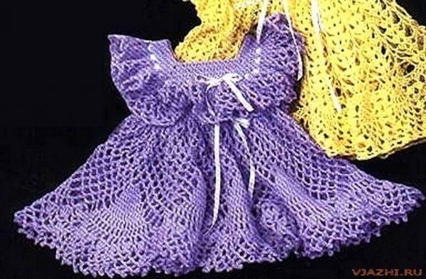 Вязаное платье крючком для девочки 1 год