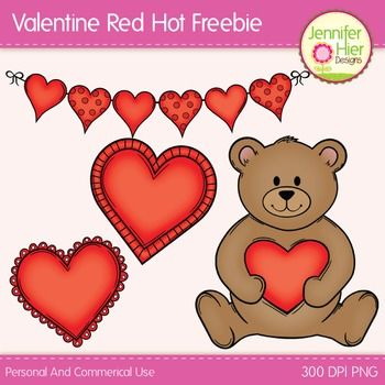 Valentines Day clip art FREEBIE! Perfect for your Valentine's Day, February, and love themed creations, this set of free clipart includes several fun heart designs and a Valentine bear. The set includes a zip file with 4 full color and 4 black and white line art images for a total of 8 images.All files are 300 DPI files for nice, crisp printing.