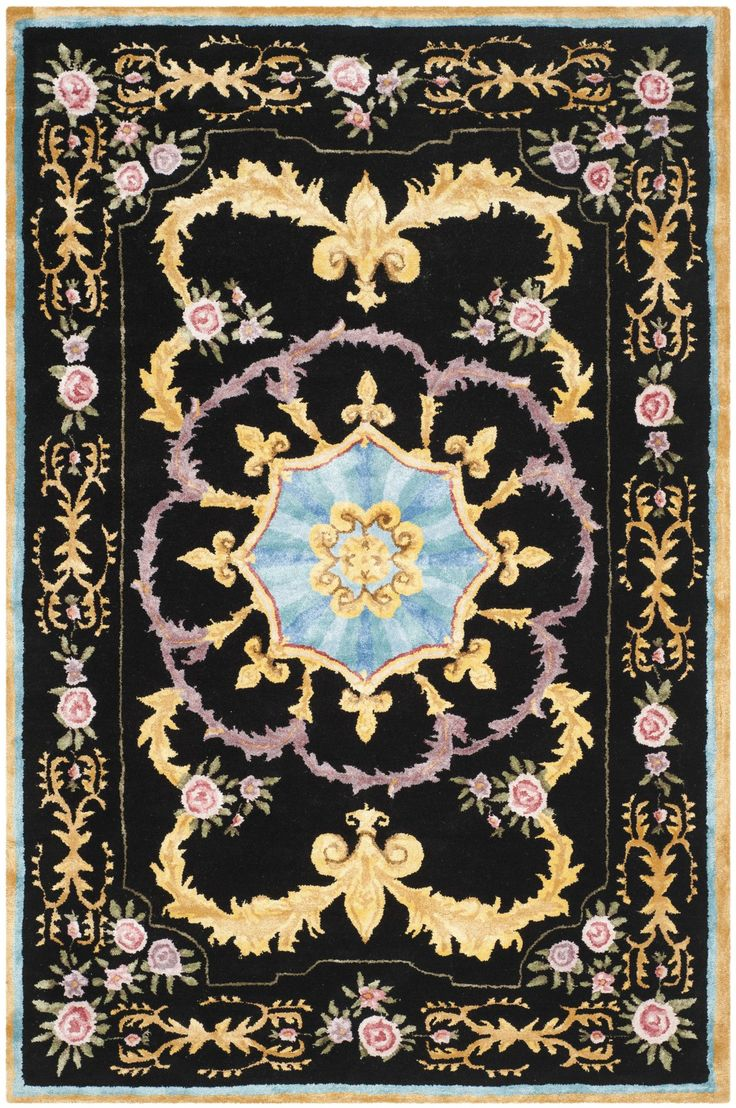 Chaplain Hand-Tufted Black/Yellow/Blue Area Rug