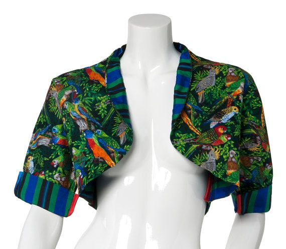 Check out this item in my Etsy shop https://www.etsy.com/uk/listing/269202246/1s1m-cotton-parrots-dark-bolero-jacket