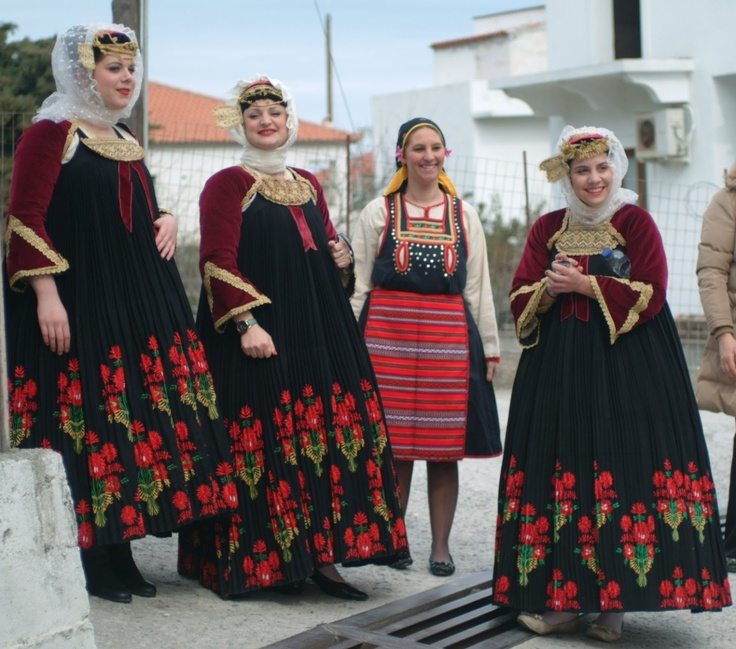 A traditional Greek costume formerly found on Crete and other islands known as foustana or stofa.