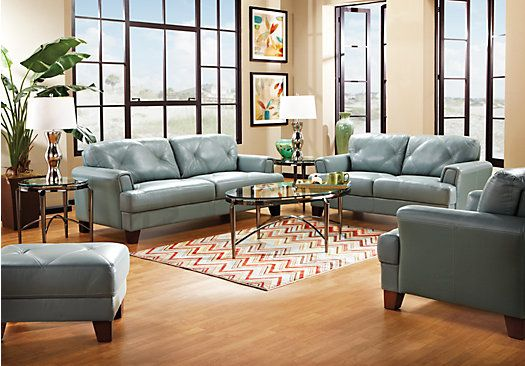 Shop For A Cindy Crawford Home Seafoam Leather Eden Place 5 Pc Living Room At Rooms To Go Find