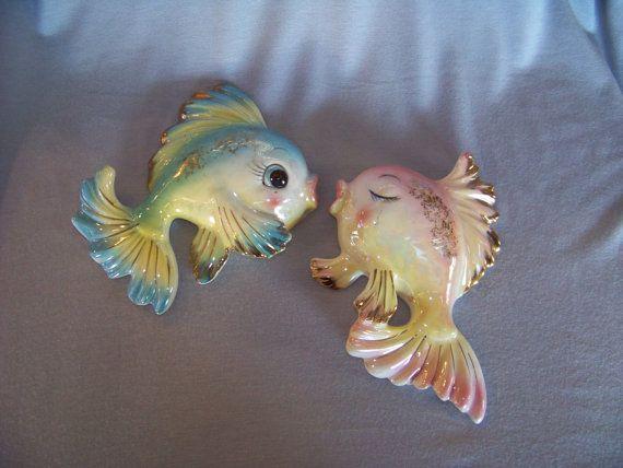 1950 Bathroom Wall Decor 1950s Ceramic Kissing Fish Couple Wall Hanging Mermaid