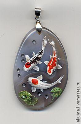 rock art fish koi dewdrop  pendant