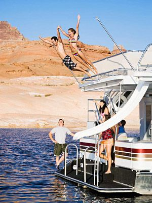 Pilot a Houseboat: Lake Powell, Arizona & Utah.  I like a bunch of the other ones on here too, like sleeping in a treehouse or trekking with a llama