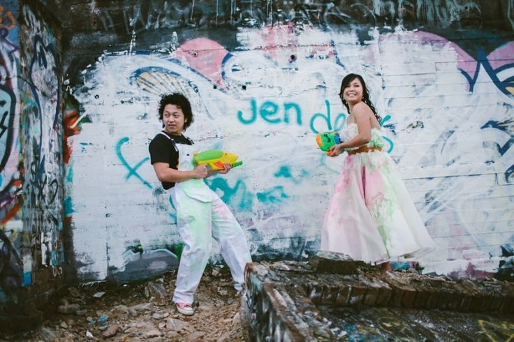 Trash the dress ideas. Water guns filled with paint.  Image: Cavanagh Photography http://cavanaghphotography.com.au