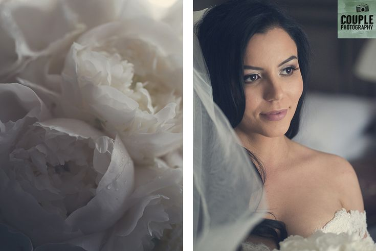 The bride gets her veil on & her white peony rose bouquet. Weddings at Cabra Castle photographed by Couple Photography.