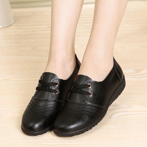Ботинки черные ботинки работы удобные плоские туфли женские студенческие плоские туфли с классами не скользит рабочая обувь KFC