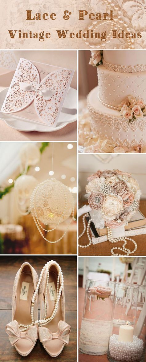 Vintage lace and pearl wedding ideas and wedding invitations. #wedding