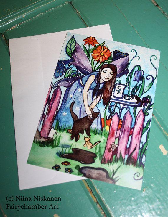 Blue Fairy's Garden set of 10 Postcards - Fairy - Fantasy - Cat Post cards - Card Sets - blank cards - by Niina Niskanen
