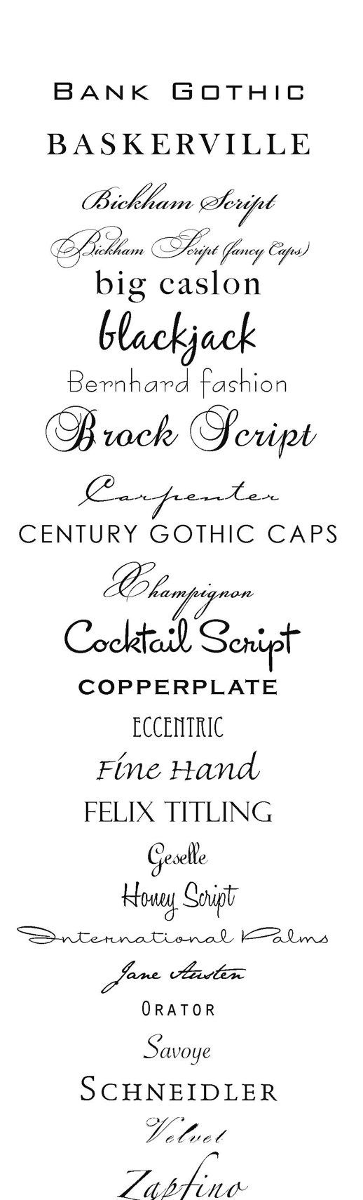 Awesome Fonts. I esp like a few of the ones near the top :)