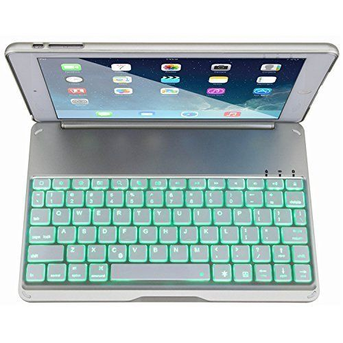 Aluminium Folio Bluetooth Keyboard Protective Case Cover With Colorful Backlit Light for iPad Air / iPad 5 and iPad Air 2 / iPad 6 (With a Gasket). #iPad