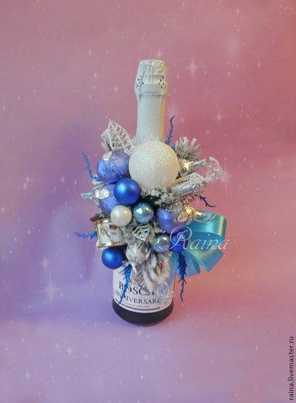 Новый год 2015 ручной работы. Ярмарка Мастеров - ручная работа Новогодний подарок,букет из конфет на шампанское.. Handmade.