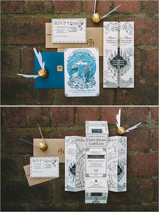 Harry Potter Hochzeitseinladungen inkl. Marauder's Map und Snitch
