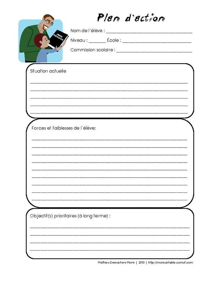 Mon cartable - Site de partage de ressources entre enseignants du préscolaire et du primaire - www.moncartable.ca -   Plan d'intervention