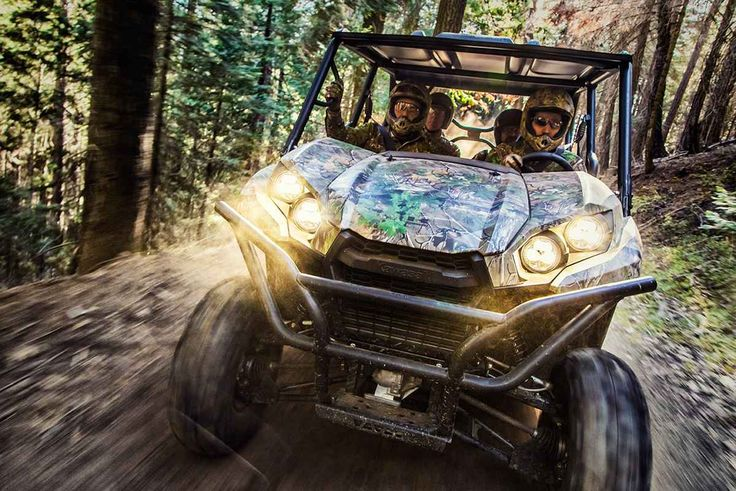 "New 2017 Kawasaki Teryx4™ Camo ATVs For Sale in Texas. Up for any challenge, the Kawasaki Teryx4™ Camo Side x Side takes on the wilderness full-throttle with its powerful, 800-class V-twin engine and premium Fox® Podium™ piggyback shocks. 783 cc V-twin engine with strong mid-range power delivery Continuously Variable Transmission (CVT) 49:51 weight distribution for sporty and confident handling Durable and light weight ""Double-X"" frame construction Tilt steering, Electric Power Steering…"