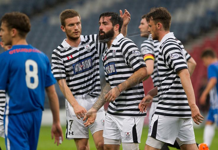 Queen's Park's players celebrate Bryan Wharton's goal during the IRN-BRU Cup game between Queen's Park and Kilmarnock Colts