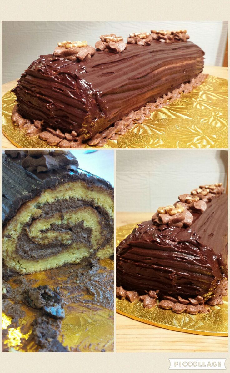Roll cake with chocolate ganache