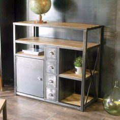 Meuble de rangement industriel 4 tiroirs 1 porte bois métal