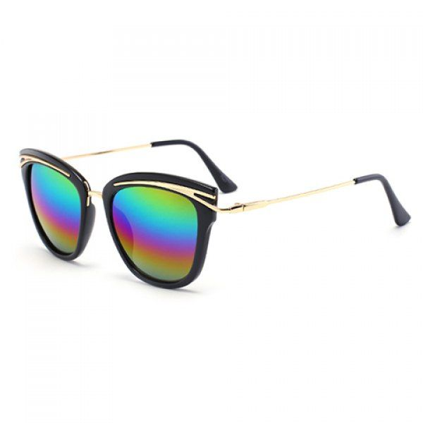 Chic Women's Golden Alloy Inlay Black Frame Rainbow Color Lenses Sunglasses #CLICK! #clothing, #shoes, #jewelry, #women, #men, #hats, #watches