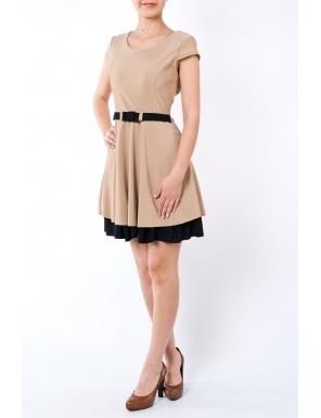 Rochie clos cu cordon in talie 1762 beige/negru  Brand: Moda Fashion
