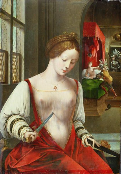 Death of Lucretia, by Ambrosius Benson (early 1500s). The rape that lead to Lucretia's suicide can be seen in the background.